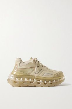 53045 - Bump Air Faux Leather, Mesh And Neoprene Sneakers - Sand