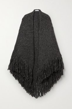 Lauren Fringed Cashmere Wrap - Dark gray