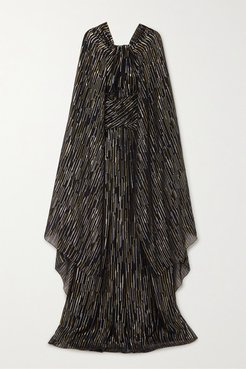 Cape-effect Silk And Lurex-blend Jacquard Gown - Black
