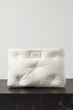 Pillow Quilted Leather Pouch - White