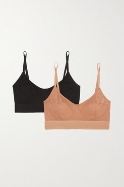 Net Sustain Set Of Two Stretch-bamboo Soft-cup Bra - Black