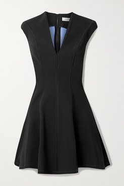 Paneled Scuba Mini Dress - Black