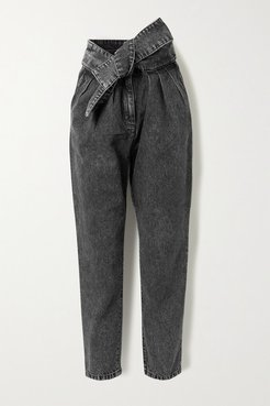 Repu Cropped Belted Acid-wash High-rise Tapered Jeans - Dark gray