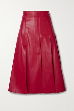 Pleated Faux Leather Midi Skirt - Red