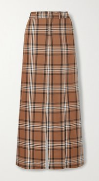 Checked Cotton-twill Maxi Skirt - Brown