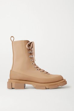 Gao Lace-up Rubber-trimmed Canvas Platform Ankle Boots - Sand