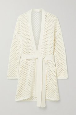 Belted Open-knit Cardigan - White