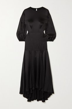 Sabine Silk-crepon Midi Dress - Black