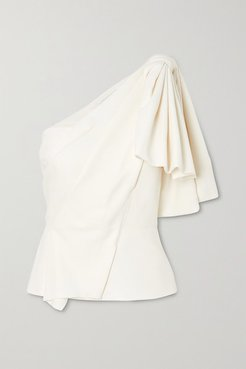 Toulon One-shoulder Bow-detailed Gathered Crepe Top - White
