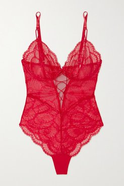 Delilah Lace-up Stretch-mesh And Lace Underwired Bodysuit