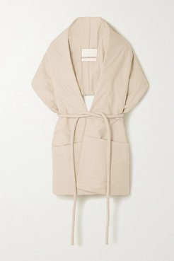 Belted Padded Cotton Wrap - Beige