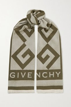 Fringed Intarsia Wool And Cashmere-blend Scarf - Army green