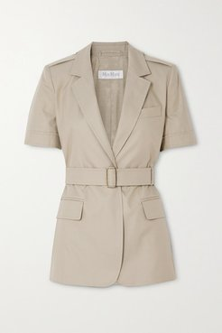 Cesare Belted Cotton-twill Jacket - Taupe
