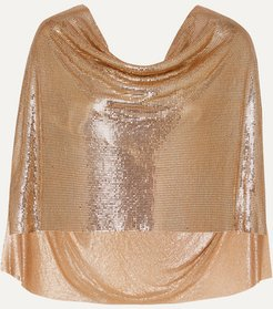 Draped Cape-effect Chainmail Top - Gold