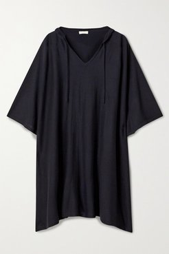 Hooded Cashmere Poncho - Black