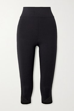 Cropped Calais Lace-trimmed Stretch Leggings - Black
