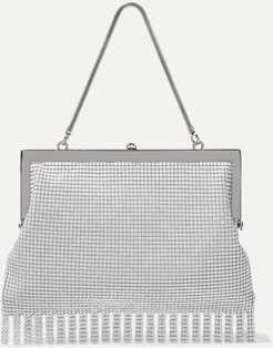 Zoe Fringed Chainmail Tote - White