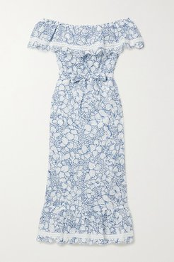 Lemnos Belted Off-the-shoulder Perforated Floral-print Cotton Midi Dress - Blue