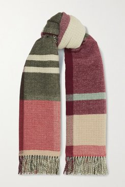 Net Sustain Tableau Fringed Checked Wool And Cashmere-blend Scarf - Burgundy