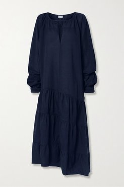 Amily Asymmetric Tiered Striped Cotton-voile Maxi Dress - Midnight blue