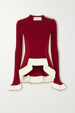Asymmetric Ribbed-knit Sweater - Red