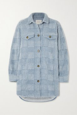 Edmond Oversized Checked Brushed-flannel Jacket - Blue