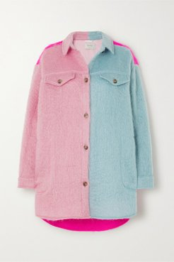 Emily Oversized Color-block Mohair-blend Jacket - Bright pink