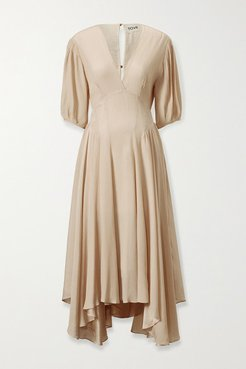 Veda Silk-crepon Midi Dress - Ecru