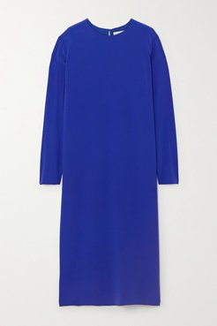 Nova Silk-crepe Midi Dress - Blue
