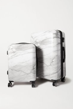 Astyll Set Of Two Marbled Hardshell Suitcases - White