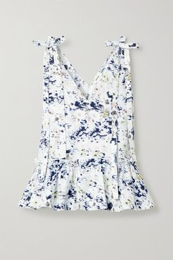 Bow-detailed Printed Cotton Peplum Top - White