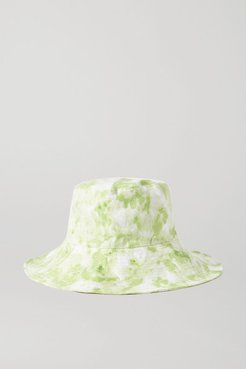 Net Sustain Bettina Tie-dyed Linen Sunhat - Lime green
