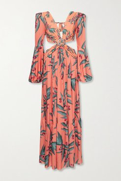Cutout Floral-print Crepe Maxi Dress - Coral
