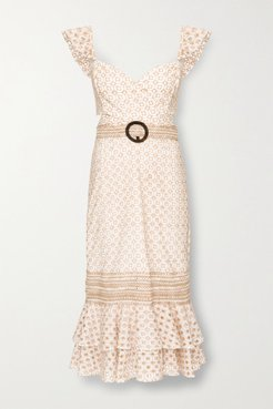 Belted Broderie Anglaise Cotton-blend Midi Dress - Beige