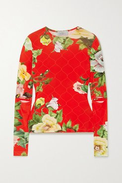 Xandria Cutout Floral-print Stretch-crepe Top - Red