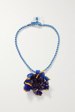 Flower Glass And Cord Necklace - Royal blue