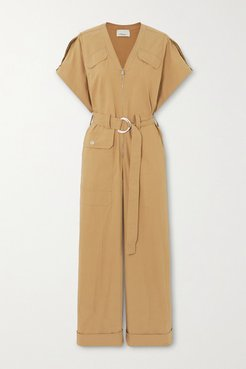 Space For Giants Belted Organic Cotton-blend Twill Jumpsuit - Camel