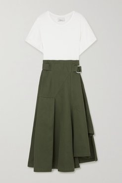 Space For Giants Belted Pleated Organic Cotton-jersey And Twill Midi Dress - Army green
