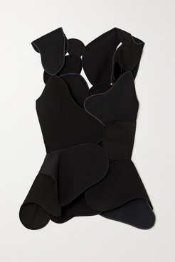 Mica Patchwork Wool And Silk-blend Crepe, Twill And Velvet Top - Black
