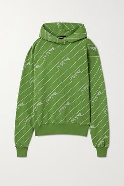 Oversized Embroidered Cotton-jersey Hoodie - Leaf green