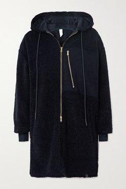 Olympus Oversized Hooded Jersey-paneled Faux Shearling Coat - Navy