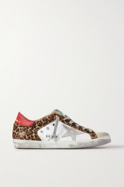 Superstar Distressed Leopard-print Calf Hair, Leather And Suede Sneakers - White
