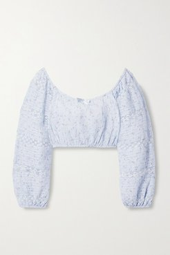 Albertina Cropped Lace-trimmed Floral-print Cotton-voile Top - Light blue