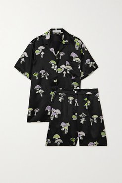 Emeli Printed Silk-satin Pajama Set - Black