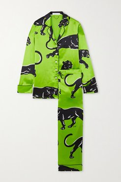 Lila Printed Silk-satin Pajama Set - Green