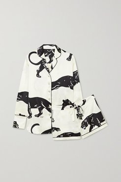 Alba Printed Silk-satin Pajama Set - White