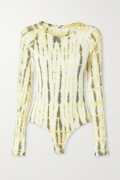 Leila Ribbed Tie-dyed Stretch-jersey Bodysuit - Yellow