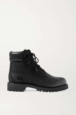 Timberland Embroidered Leather-trimmed Glittered Nubuck Ankle Boots - Black