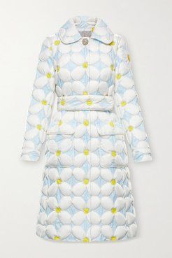 8 Richard Quinn Candice Belted Quilted Shell Down Coat - Light blue