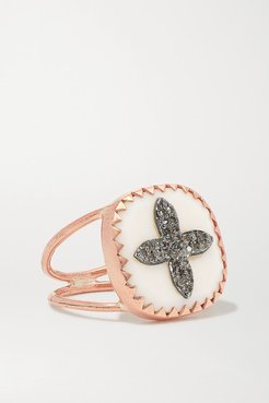 Bowie N°2 9-karat Rose Gold, Sterling Silver, Resin And Diamond Ring